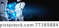 3D rendering humanoid robot handshake to collaborate future technology 77389884