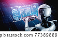 Robot humanoid use laptop and sit at table for big data analytic 77389889