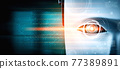 Robot humanoid face close up with graphic concept of big data analytic 77389891