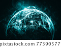 Global network connection covering the earth with lines of innovative perception 77390577