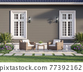 Outdoor terrace with empty gray plank wall background 3d render 77392162