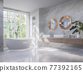 Luxury style light gray bathroom with nature view 3d render 77392165