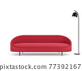 Modern style red fabric sofa on white background 3d render 77392167