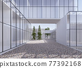 Minimal style building space exterior 3d render 77392168