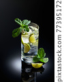 Mojito cocktail with ice, lime, and mint. 77395172