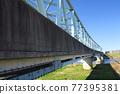 railway bridge, edo river, bank 77395381
