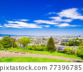 Suburban residential area with blue sky 77396785