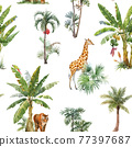 Beautiful vector seamless pattern with watercolor tropical palms and jungle animals tiger, giraffe, leopard. Stock illustration. 77397687