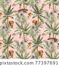 Beautiful vector seamless pattern with watercolor tropical palms and jungle animals tiger, giraffe, leopard. Stock illustration. 77397691