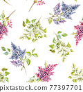 Beautiful vector floral spring seamless pattern with watercolor gentle lilac flowers. Stock illustration. 77397701