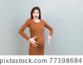 Young surprise or shocked woman pregnant isolated colored background. expression female 77398684