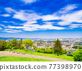 Suburban residential area with blue sky 77398970