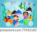 Stickman Kids Underwater Birthday Illustration 77402183