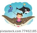Stickman Kids Underwater Creatures Illustration 77402185