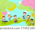Stickman Kids Perform Nature River Illustration 77402189