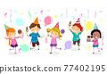 Stickman Kids Ice Cream Social Party Illustration 77402195