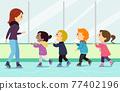 Stickman Kids Ice Skating Lesson Illustration 77402196