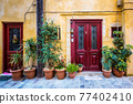 Scenic picturesque streets of Chania venetian town. Chania, Creete, Greece 77402410