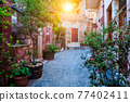 Scenic picturesque streets of Chania venetian town. Chania, Creete, Greece 77402411