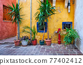 Scenic picturesque streets of Chania venetian town. Chania, Creete, Greece 77402412