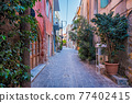 Scenic picturesque streets of Chania venetian town. Chania, Creete, Greece 77402415