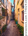Scenic picturesque streets of Chania venetian town. Chania, Creete, Greece 77402416