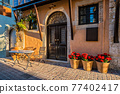 Scenic picturesque streets of Chania venetian town. Chania, Creete, Greece 77402417