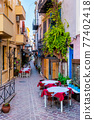 Scenic picturesque streets of Chania venetian town. Chania, Creete, Greece 77402418