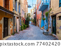 Scenic picturesque streets of Chania venetian town. Chania, Creete, Greece 77402420