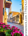 Scenic picturesque streets of Chania venetian town. Chania, Creete, Greece 77402422