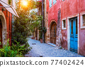 Scenic picturesque streets of Chania venetian town. Chania, Creete, Greece 77402424