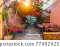 Scenic picturesque streets of Chania venetian town. Chania, Creete, Greece 77402425