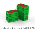 red apples in plastic crate 77404170