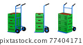 set of hand trucks with apple in crates 77404171