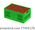 red apples in plastic crate 77404176