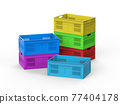 stack of colourful plastic crates 77404178