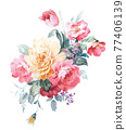 Colorful floral material combinations and design elements 77406139
