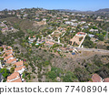 Aerial view off massive expensive mansions in the valley of Carlsbad, North County San Diego 77408904