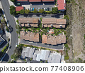 Aerial top view of townnhouse condos in Carlsbad, North County San Diego 77408906
