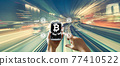 Bitcoin theme with high speed motion blur 77410522