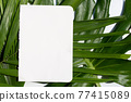 Blank white paper on tropical leaves background. 77415089