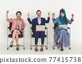 Happy young businesswomen celebrating success. 77415738