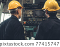 Group of skillful factory workers using machine equipment in workshop 77415747