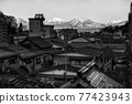 aerial view of Shibu onsen town and central alps 77423943