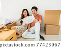 Couple read blueprint to plan interior of new house 77423967