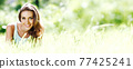 Smiling girl portrait 77425241