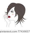 一位女士臉頰貼 77430657