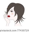 一位女士臉頰貼 77430729
