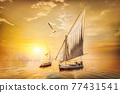 Sailboats at sunset 77431541