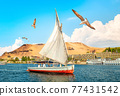 Sailboat in Aswan city 77431542